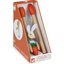 Дървена играчка за бутане Janod - Заек -1