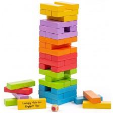 Дървена игра Bigjigs - Дженга, разноцветна -1