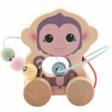 Дървена играчка за дърпане Jouéco - Маймунка -1