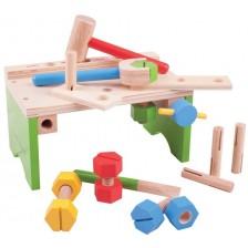 Дървен комплект Bigjigs - Работилница с инструменти