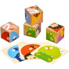 Дървен пъзел с кубчета Lucy&Leo - Кой какво яде? -1