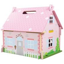 Дървена къща за кукли Bigjigs - Разцъфналата къщичка, с обзавеждане -1