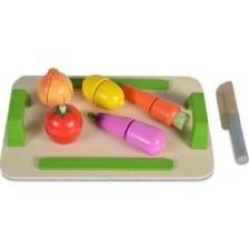 Дървена играчка Moni - Дъска за рязане със зеленчуци -1