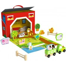 Дървена играчка Tooky Toy - Преносима ферма -1