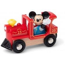 Дървена играчка Brio - Локомотив и фигурка Mickey Mouse -1