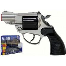 Детски револвер Villa Giocattoli Falcon Silver - С капси, 12 изстрела -1