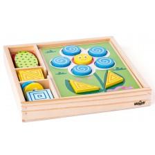 Детска дървена мозайка Woody - Цветове и форми -1