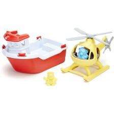 Детска играчка Green Toys - Спасителна лодка и хеликоптер -1