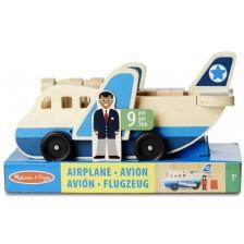 Детска дървена играчка Melissa & Doug - Самолетче с пътници -1