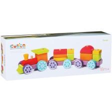 Детска дървена играчка Cubika - Цветно влакче -1