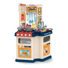 Детска кухня Ocie Little chef - С пара и течаща вода, синя -1