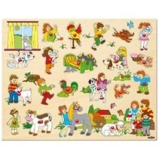 Детски дървен пъзел Woody с дръжки - Eдин ден във фермата -1