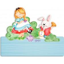 Детска дървена табела Haba - Алиса, име с български букви -1