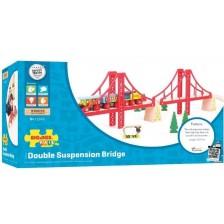 Детска дървена играчка Bigjigs - Двоен висящ мост -1