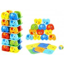 Детска дървена дженга Tooky Toy - Слончета -1