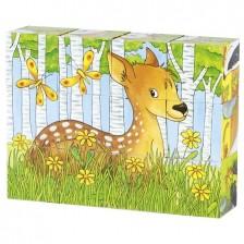 Детски дървени кубчета Goki - Горски животни -1