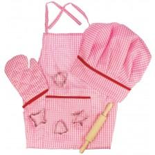 Детски готварски комплект Bigjigs - За обличане, розов -1