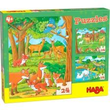 Детски пъзел Haba 3 в 1 - Семействата на животнитите -1