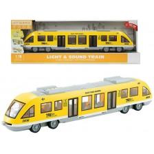 Детска играчка Ocie City Service - Влак метро, 1:16, жълт -1