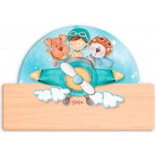 Детска дървена табела Haba - Самолетче, име с български букви -1