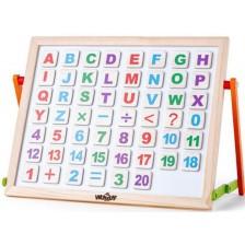 Детска магнитна дъска Woody - С буквички, цифри и две лица -1