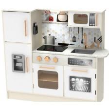 Детска дървена кухня Classic World - С хладилник, бяла -1