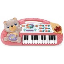 Детска йоника Ocie - С мече и 24 клавиша, розова -1