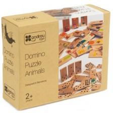 Детска дървена игра Andreu toys - Домино-пъзел, животни -1
