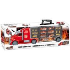 Детска играчка Zhorya Fire Truck - Автовоз с коли и хеликоптер -1