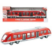 Детска играчка Ocie City Service - Влак метро, 1:16, червен -1