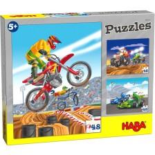 Детски пъзел Haba 3 в 1 - Моторспорт -1
