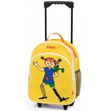 Детска раница на колела Micki Pippi - Пипи Дългото чорапче, жълта -1