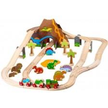 Детска дървена играчка Bigjigs - Динозавърски влаков комплект -1