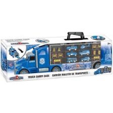 Детска играчка Zhorya Police Truck - Автовоз с коли и хеликоптер -1