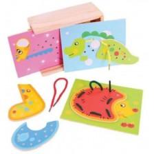 Детска дървена играчка Bigjigs - Игра с връзки в кутия -1