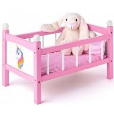 Детско дървено легло за кукли Woody със завивки  - Еднорог -1