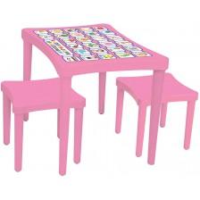 Детска маса с два стола Pilsan, розова -1