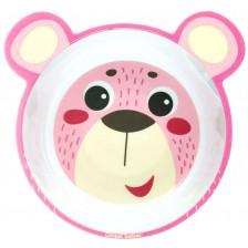 Детска купичка Canpol - Розово мече с ушички -1