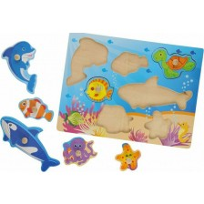 Детски дървен пъзел Johntoy - Морски животни, 7 части -1