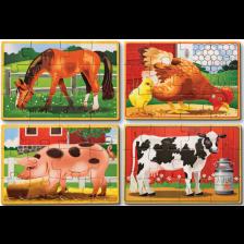 Детски дървен пъзел Melissa & Doug - Животни, 4 броя -1