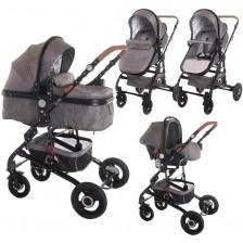 Детска комбинирана количка Lorelli - Alba set, Dark grey -1