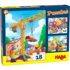 Детски пъзел 3 в 1 Haba - Строителни обекти -1