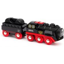 Детска играчка Brio - Парен локомотив с вагон -1