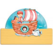 Детска дървена табела Haba - Пират, име с български букви -1