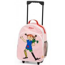 Детска раница на колела Micki Pippi - Пипи Дългото чорапче, розова -1