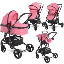 Детска комбинирана количка Lorelli - Alba Classic Set, Candy Pink -1