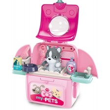 Детска играчка 2 в 1 Ocie - Салон за домашен любимец в раница, розов, с куче -1