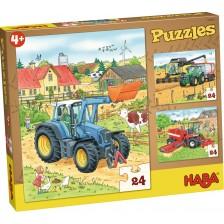 Детски пъзел 3 в 1 Haba - Трактори -1