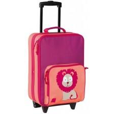 Детски куфар Lassig Trolley Little - С лъвче, розов -1