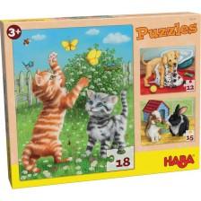 Детски пъзел 3 в 1 Haba - Домашни животни -1